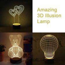 Amazing LED 3D Illusion Illuminated Lamp Night Light Table Desk Bedroom
