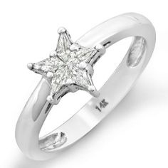 0.30 Carat (ctw) 14k White Gold Noble Cut Star Shaped 5 Stone Diamond Ladies Bridal Ring Engagement DazzlingRock Collection. $699.00. Diamond Weight : 0.30 ct tw.. Diamond Color / Clarity : G-H / SI-I. Crafted in 14K white-gold. Weighs approximately 3.00 grams. Save 71%!
