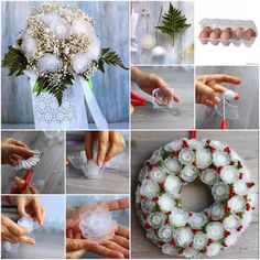 How to Make Plastic Flower Bouquet from Egg Box | www.FabArtDIY.com