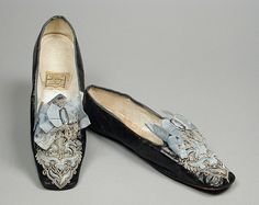 1862-1865, America - Pair of Woman's Slippers by J. B. Miller & Co. - Kid leather, silk satin, sueded leather