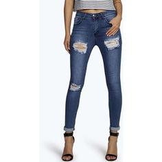 Boohoo Blue Jess Mid Rise Distressed Thigh Skinny Jeans ($44) ❤ liked on Polyvore featuring jeans, dark blue, slim straight jeans, high waisted jeans, high-waisted skinny jeans, super high-waisted skinny jeans and skinny jeans