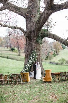 Oak tree wedding ceremony | Soul Child Photography and  Orchestrated Stylized Shoots | see more on: http://burnettsboards.com/2015/02/interlocked-stylized-shoot/