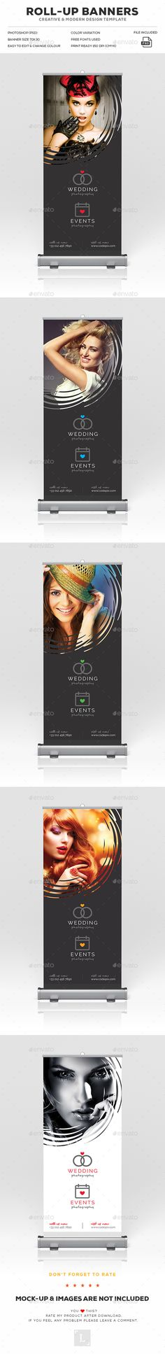 "Photography Roll-Up Banner by UXcred FILE INFORMATION:Easy customizable and editable 150 DPI CMYK Print Ready! Size 30""x70"".25"" in with bleed 100 Layered and Full Edi"