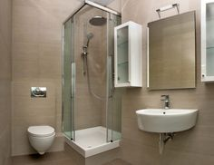 Small Glass Shower Room With Shower And White Base Combined With Floating White Wooden Storage And Mirror Plus Sink On The Brown Wall, Enchanting Small Bathroom Ideas With Tub And Shower