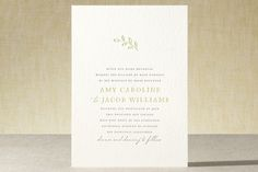"""Leaves"" - Simple, Elegant Letterpress Wedding Invitations in Lime by Waldo Press."