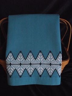 Vintage Swedish Weave Blue Huck Toweling Hand by AnneMariesAttic