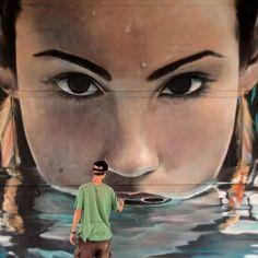 Increíble diseño realista para crear un efecto de ilusión hecho por el artista urbano Mantra.