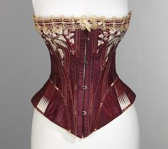 Corset, 1876, Worcester Corset Company (American, 1872–1901), silk, cotton, metal, bone, American
