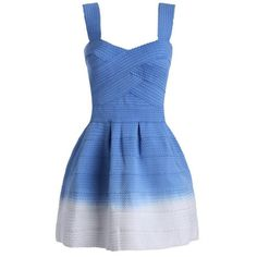 Sweetheart Neck Ombre Mini Dress Blue ($27) ❤ liked on Polyvore featuring dresses, blue color dress, sweetheart mini dress, sweetheart neckline dress, short sweetheart dresses and sweet heart dress