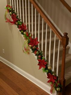 stunning christmas stair decorations to step up your holiday display 16 Christmas Garland On Stairs, Easy Christmas Decorations, Unique Christmas Trees, Christmas Tree Themes, Christmas Wood, Simple Christmas, Handmade Christmas, Christmas Holidays, Christmas Crafts