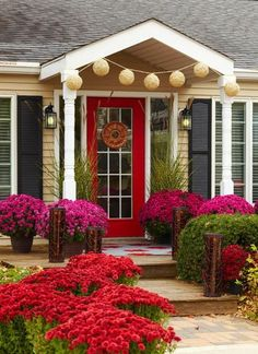 """Fresh paint on the front door and bright colored flowers go a long way to staging a """"honey, stop the car"""" front porch! 30 Front Door Ideas and Paint Colors for Exterior Wood Door Decoration or Home Staging Door Decorations, Exterior Paint, House Exterior, Best Front Doors, Exterior Design, Wood Exterior Door, Beautiful Front Doors, House Designs Exterior, Exterior Wood"""