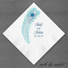 Peacock Feather personalized paper wedding napkins Imprinted with peacock design and names and wedding date of bride and groom. Peacock Feather Napkin  Item Number:ZB14821NAP  $46.90-$48.90 per 100