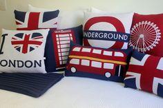 I like the Union Jack, the Underground one, & the one of the London eye. British Decor, British Style, Union Jack Bedroom, Union Jack Decor, British Things, New Room, London England, England Uk, Room Decor