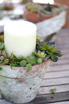 Tontopf mit Kerze & Sukkulenten   DIY   Garten   Sommer