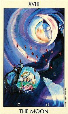 XVIII The Moon - Deck: Tarot of The Spirit by Pamela Eakins, Ph.D Artist: Joyce Eakins A beautiful tarot deck!                                                                                                                                                      More