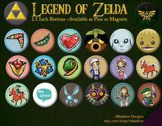 Legend of Zelda 1.5 inch Magnet sets by mikadove on Etsy, $5.99