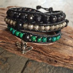 Boho-style 3X Wrap Bracelet with Chrysocolla, Black Stones and Silvertone Beads on Black Leather Cord with Honeybee Dangle by BohoJewelryBoutique on Etsy
