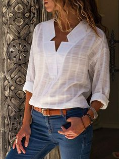 V Neck Long Sleeve Casual Blouse