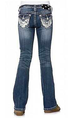 Miss Me® Girls Medium Stonewash w/ Western Lace Flap Pocket Jean | Cavender's
