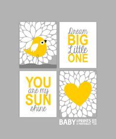 Yellow and Grey Nursery art Set of 4 8x10. You by babyartprints
