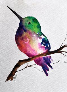 ORIGINAL Watercolor Painting Colorful Hummingbird von ArtCornerShop