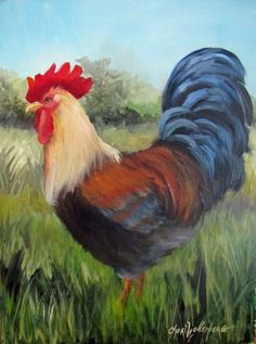 SUBJECT: Beautifully colored rooster with yellows,reds,blues, rusts and blacks. He is strutting his beauty around in a meadow of trees and tall grass. A great farm animal, he would brighten up a kitchen or dining area for sure! DESCRIPTION: MEDIUM: Oil on RayMar Masonite Artist panel SIZE: 12H x 9W Framing: Unframed