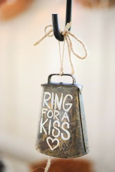 Wedding bells aren't necessarily the only things ringing at farm wedding! For a memorable reception idea or even a wedding send-off, paint a rustic cowbell with this cute saying. farm wedding ideas DIY Wedding Ideas That Flaunt Country Chic Style Wedding Send Off, Farm Wedding, Wedding Bells, Wedding Day, Wedding Backyard, Romantic Backyard, Trendy Wedding, Elegant Wedding, Gown Wedding