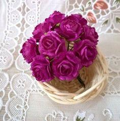 100 Deep Pink Rose Mulberry Paper Flower Craft Scrapbooking Embellishments Card  #Unbranded