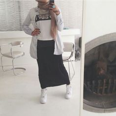 Lifelongpercussion | Nike air force ones, black skirt, shirt, statement necklace. Muslimah fashion