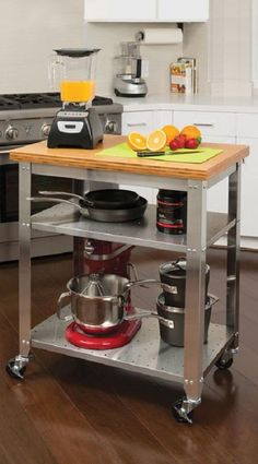 Create an instant island in your kitchen with this versatile Stainless Steel Prep Table by Seville Classics.