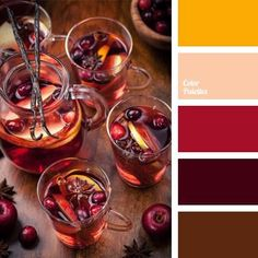 This warm color palette is based on a combination of burgundy, red, and yellow, while brown adds some contrast. It can be used successfully in decoration o. Informations About Color Palette Pin Y Orange Color Palettes, Warm Colour Palette, Warm Colors, Colours, Bedroom Colour Schemes Warm, Bedroom Colors, Bedroom Ideas, Pantone 2015, Pantone Color