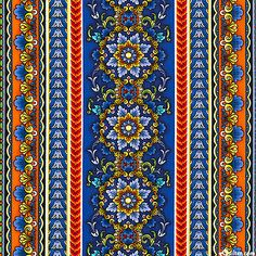 eQuilter - TTSIE4SP - Siena -Classical Medallions Stripe - Royal Blue from the 'Siena' collection by Chong-a Hwang for Timeless Treaures