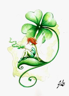 Irish Fairy by giulal on DeviantArt Leprechaun Tattoos, Saint Patricks Day Art, Four Leaf Clover Tattoo, Shamrock Tattoos, Geniale Tattoos, Celtic Tattoos, Celtic Clover Tattoos, Celtic Art, Tatoo