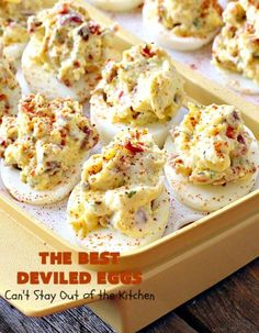 The BEST Deviled Eggs | Can't Stay Out of the Kitchen | my Mom's fabulous recipe. These have a secret ingredient: #bacon! Perfect for the #FourthofJuly & other #holiday fun. #eggs #glutenfree