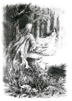 """But she vanished from his sight; and he became dumb, as one that is bound under a spell, and he strayed long in the woods, wild and wary as a beast, seeking for her. In his heart he called her Tinuviel, that signifies nightingale, daughter of twilight, in the elven-grey tongue, for he knew no other name for her."""