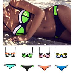 ☆ Bikini push up balconnet Modèle NEON TRIANGL STYLE MULTICOLORE POPPY MULTI