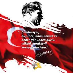"""""""…Cumhuriyet; düşünce, bilim, teknik ve beden yönünden güçlü, yüksek karakterli koruyucular ister."""" Mustafa Kemal Atatürk.  #cumhuriyet #bayram #cumhuriyetbayramı #29Ekim #29EkimCumhuriyetBayramı #atatürk #mustafakemal #MustafaKemalAtatürk #halk #republic #antalya #türkiye"""