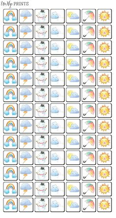 Weather Stickers Planner Stickers Kawaii Stickers by UnHipPrints