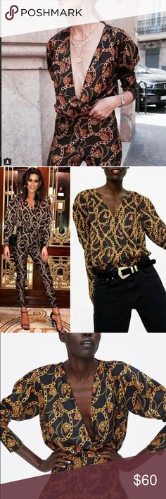 1cf35e68 NWT Zara Black Chain Print Wrap Bodysuit Top Black and gold chain print  body suit. PrincipalV Neck ...