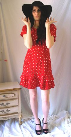 1980's Ms Choice Red and White Polka Dot by VictoireVintage