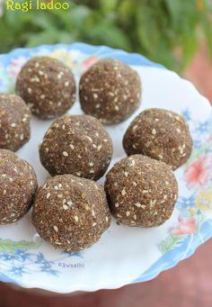 Ragi Laddu Recipe using Jaggery (finger millet flour Balls) - indian snacks - Dessert Recipes For Kids, Sweets Recipes, Baby Food Recipes, Indian Food Recipes, Healthy Recipes, Diwali Recipes, Healthy Bars, Kid Recipes, Healthier Desserts