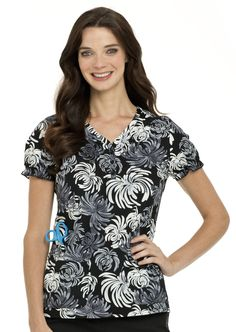4072 Pintucked Henley Tunic in Cascading Floral print #nurse #nursing #scrubs #healthcare #landau #nurses #uniform #prints