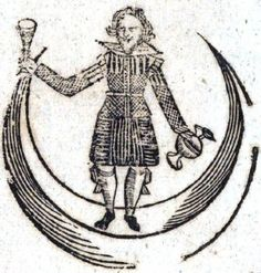Man in the Moon brand claret, medieval advert of man holding wine glasses on cresent moon.