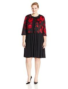 b4ca151e240 Jessica Howard Women s Plus-Size Empire Waist Dress with Embellished  Jacket  2 piece scuba floral jacket dress with beaded neckline