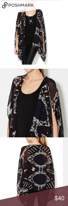 Winter Kate Silk Condor Cape Fabulous sheer Winter Kate Silk Condor Cape!    • Open front, tonal top stitching, panel seaming  • 26 inches from shoulder to hem; Measurements were taken from a size S Model's height is 5 feet 10½ inches; bust 33 inches; waist 24 inches; hips 35 inches  • Dry clean only  • Material: 100% vintage silk shell  • MSRP: $235 Winter Kate Tops