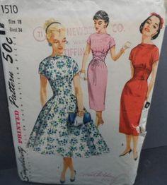 Super 1950s Slim Fit or Full Skirt Vintage Princess Dress Pattern Sz 16