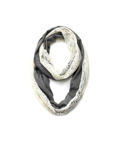 Cozy by Lulu- Charcoal Linen and Lace Infinity Scarf by Shop Lulu