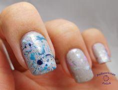 Ocean Paint Splatter Nail Art