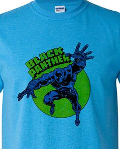 sports shoes 05ae1 a3346 Black Panther T shirt retro Marvel comic book superhero cotton blend  graphic tee