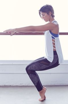 Beyond Yoga 'Spliced and Diced' Mesh Inset Leggings